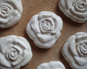 Rose Ceramic White Bisque Clay Pottery Tiles Unglazed for Mosaic, Home Decor, Craft Supplies