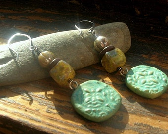 Marrakesh green Ceramic charm and Czech glass earrings earrings handmade ceramic charms sage green sterling silver ear wire