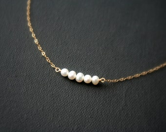 Gold filled necklace wtih freshwater pearls