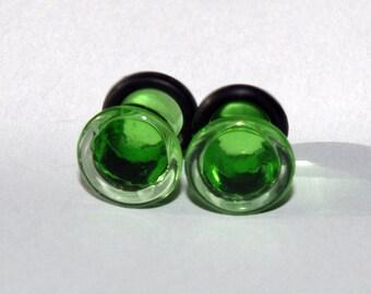 4g Transparent Green glass EAR plugs BODY JEWELRY 5mm handmade new 4 gauge