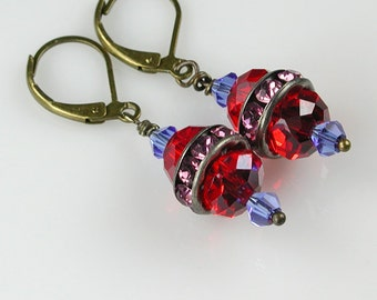 Red, Pink and Blue Crystal and Bronze Dangle Earrings