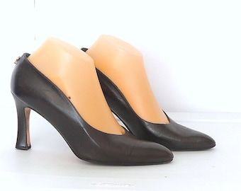 Vintage 80s Brown Pumps Pointy Toe High Heel Leather Shoes Sz 7