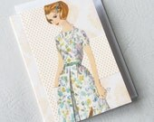 Collage Greeting Card - Citrus Burst  - Retro Girl Birthday Friendship Card