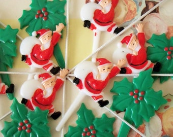 Merry Kitschmas / Christmas Santa Claus and Holly Leaves Cupcake Topper Picks / One Dozen