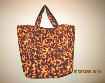 """Extra Large Durable 14"""" Grocery Shopper Tote Bag Yellow Flames  CLEARANCE 39% Off  Was 18.00*"""