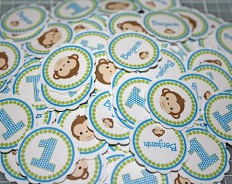 MONKEY BOY Confetti / Boy Monkey table confetti / Monkey Minis / monkey confetti / monkey party circles / girl or boy