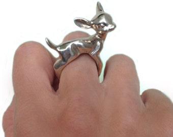 Deer Ring, silver gold bambi fawn