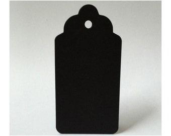 50 Black Tags, Blank Craft Tags, DIY Wedding Tags, Black Escort Tags, Gift Tags, Craft Supply, B01