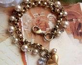 Vintage Style Bracelet, Crystal Rhinestone, Heart Bracelet, Bronze Chain Bracelet