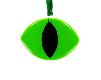 Green Cat Eye Suncatcher, Cat Eye Ornament, Animal Ornament, Cat Suncatcher