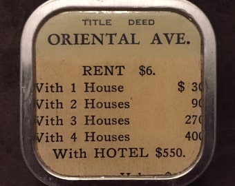 ORIENTAL AVENUE - Vintage Monopoly Property Card Altered Tin/Pill Box (small)