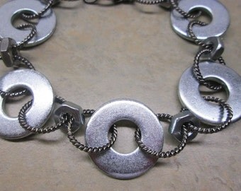 Man's Industrial Bracelet  Washer and Hex Nut