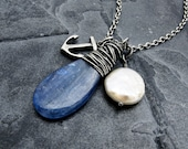 kyanite pendant necklace, nautical necklace, beach wedding necklace, blue kyanite pendant, gift for her, pearl necklace, ocean theme jewelry