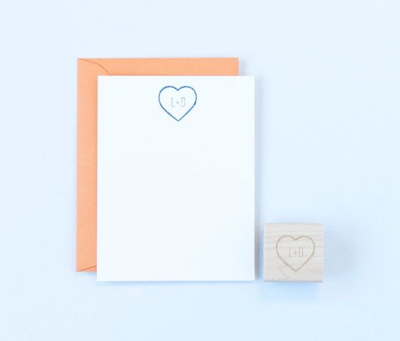 Heart & Initials Outline Rubber Stamp