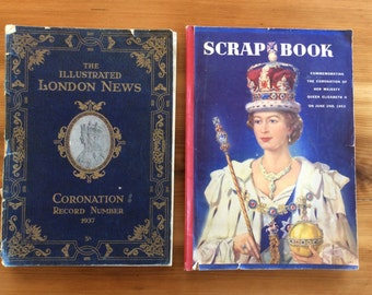 Royal Memorabilia, Illustrated London News Coronation Record Number 1937, Scrap Book Commemorating Queen Elizabeth II 1953. Large Books.