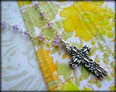 Cross Gemstone Necklace -Flowers Amethyst Sterling Silver-Gift Easter Best Friend Daughter Child Girl Baptism Wife Mother Sister Grandmother