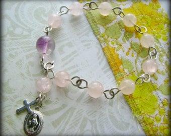 Mother Mary Rosary Artisan Linked Bracelet -Rose Quartz Amethyst Gemstone Sterling Silver -Gift Baptismal Birthday Love Easter Daughter