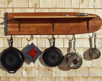 Pot Rack from old wooden ironing board Blacksmith made hooks and shelf brackets