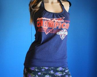Detroit Tigers Baseball Shirt recycled tshirt Halter Top Small