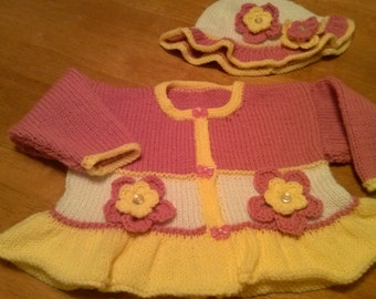 Knitted baby sweater and beanie hat- Infant Sweater.