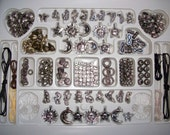 Jewelry making kit, silver beads and charms, bracelet and necklace supplies, alphabet beads