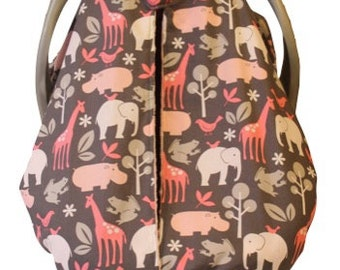 Unique Fitted Carseat canopy Pink Zoology with Paris Pink Dimple Dot Minky.