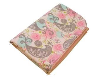 Personalized Pretty Birds on Pink Minky Baby Blanket