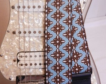 turquoise and brown knot pattern hipster indie guitar strap