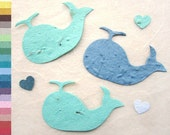 24 Whale Baby Shower Favors - Paper Plantable Seed Whales - Nautical Wedding Favor - Navy Blue Red