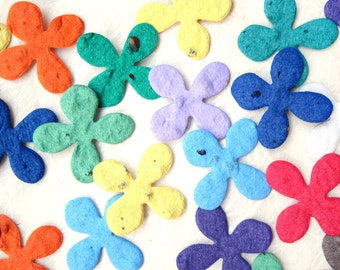 200 Plantable Seed Paper Hydrangea Flowers - Plantable Paper Confetti - Flower Seed Wedding Favors - Table Settings - Turquoise Emerald Blue