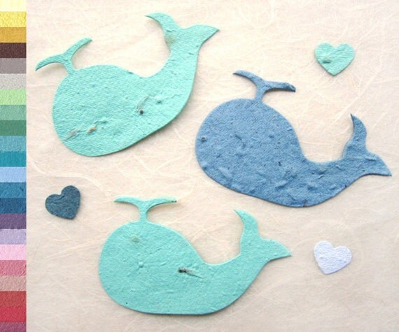 Baby Shower Favors Seeds ~ Flower seed whale baby shower favors plantable paper blue