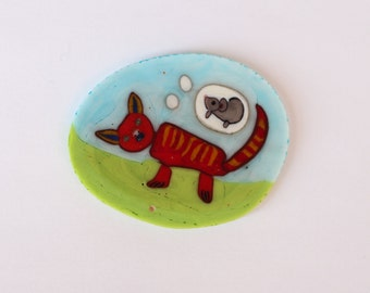 Cat thinking of a Mouse collector murrine slice/coin miniature glass mosaic millefiori