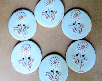 6 Handmade Ceramic Buttons - Dandelion buttons in Neutral Stoneware - Perfect for Button Bracelets