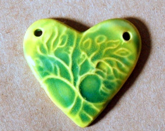 Sweet Ceramic Bead -Tree of Life in a Heart Pendant Bead - Bright Spring Green