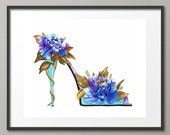 Fine Art Print Peonies Flower Shoes Stiletto Pumps Footwear Fashion Watercolor Painting Elena