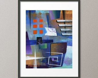 Blue Art Prints and Gallery Canvas Reproduction Colorful Abstract Art Modern Contemporary Elena