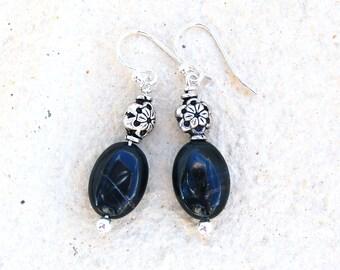 Sterling Silver Flower Blue Tigereye gemstone earrings
