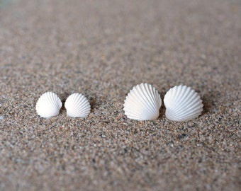 Mother Daughter Jewelry - 2 pairs of Natural Seashell Post Earrings for Mother and Daughter
