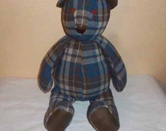Blue Plaid PENDLETON 100% Virgin Wool Teddy Bear
