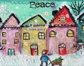 Snowy village, Folk art painting, Whimsical art, Christmas tree, Original Painting, 6 x 12