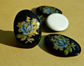 Four German Cabochons 18x13mm Black with Blue and Gold Flower Cabs (55-3B-4)