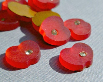 12 Vintage German Red Apple Glass Cabochons with Rhinestone (43-4B-12)