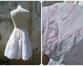 Reserverd to Elizabeth   1900 EdwardianVictorian repurposed white cotton & lace short  skirt petticoat size M/L