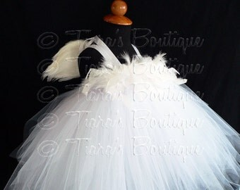 White Angel Tutu Dress Costume - Angelica, Custom Sewn Pixie Tutu Dress w/ Angel Wings - up to 24 mo - for Halloween, Valentine's Day