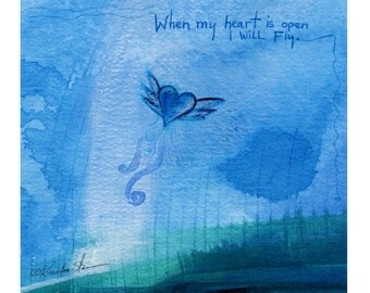 "Blue, Heart,Abstract Spiritual Typography Art, Painting,  Giclee archival print from original ""Open Heart"" by Kathy Morton Stanion EBSQ"