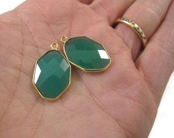 Green Onyx Pendants, Matched Pair, Set of 2 Pendants- Gold Plated Irregular Hexagon Bezel Pendants, 23x15mm (C-Go1)