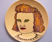hand painted plate ,creepy lady, original art on plate, stipple,unique wall art, black white illustration