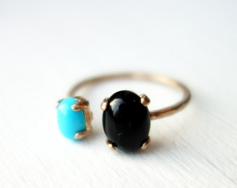 Brass Dual Stone Ring- Turquoise + Onyx