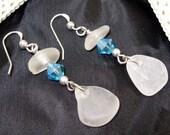 Sea Glass Earrings Sterling Silver Sea Glass Earrings Sea Glass Jewelry E-111