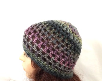 Womens Crochet Cloche Hat/ Variegated Green Purple Gray Teal